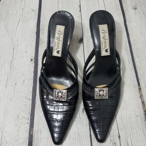 BRIGHTON BLACK FAUX CROC POINTY TOE HEELS